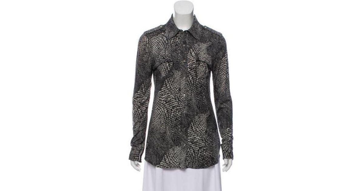 7ea3dfddbfeb9e Lyst - Tory Burch Silk Button-up Top Black in Metallic