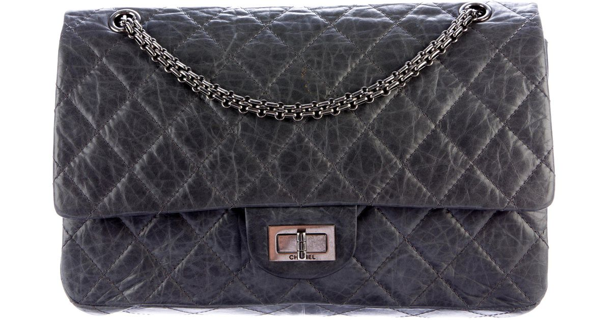 4fb66926b6a4 Lyst - Chanel Reissue 227 Double Flap Bag Grey in Metallic