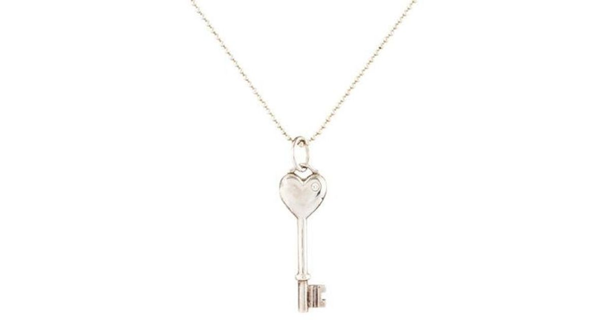Lyst tiffany co diamond heart key pendant silver in metallic aloadofball Image collections