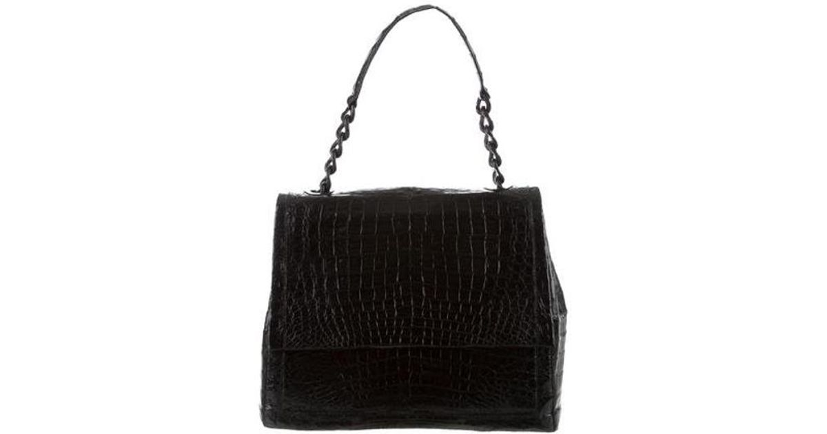 Lyst - Nancy Gonzalez Crocodile Chain Shoulder Flap Bag Black in Metallic f349d8acb5901