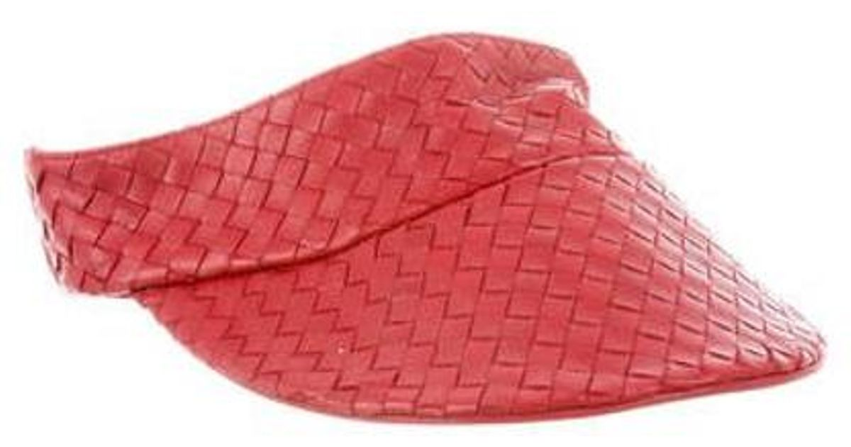 Lyst - Bottega Veneta Vintage Intrecciato Visor in Red for Men 04ca35cef623