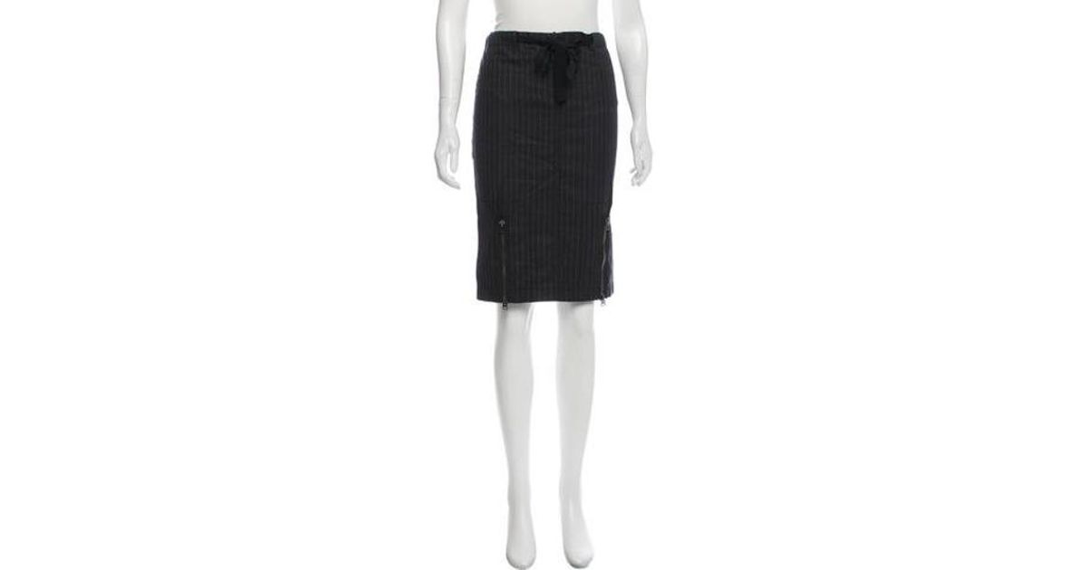 4e3c074ca Lyst - Tom Ford Striped Pencil Skirt Grey in Gray