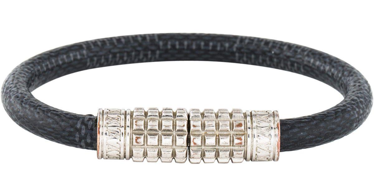 Lyst Louis Vuitton Digit Leather Wrap Bracelet Silver In Metallic