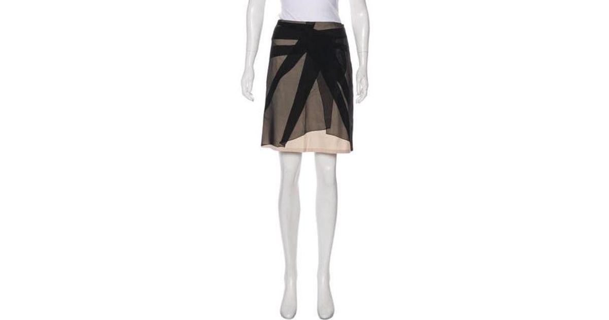 e34cae8b8 Lyst - Bottega Veneta Knee-length Silk Skirt Black in Natural