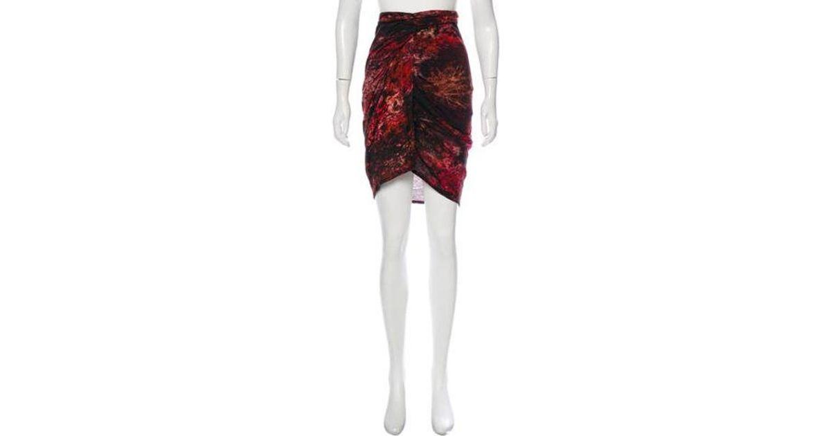 7f004593bb81 Lyst - Helmut Lang Batik Print Skirt in Red