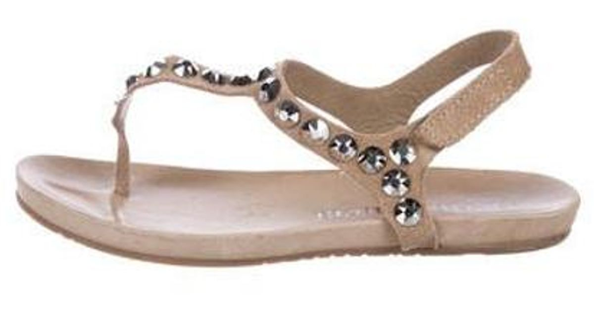 f92910c71aa1 Lyst - Pedro Garcia Crystal-embellished Suede Sandals in Brown