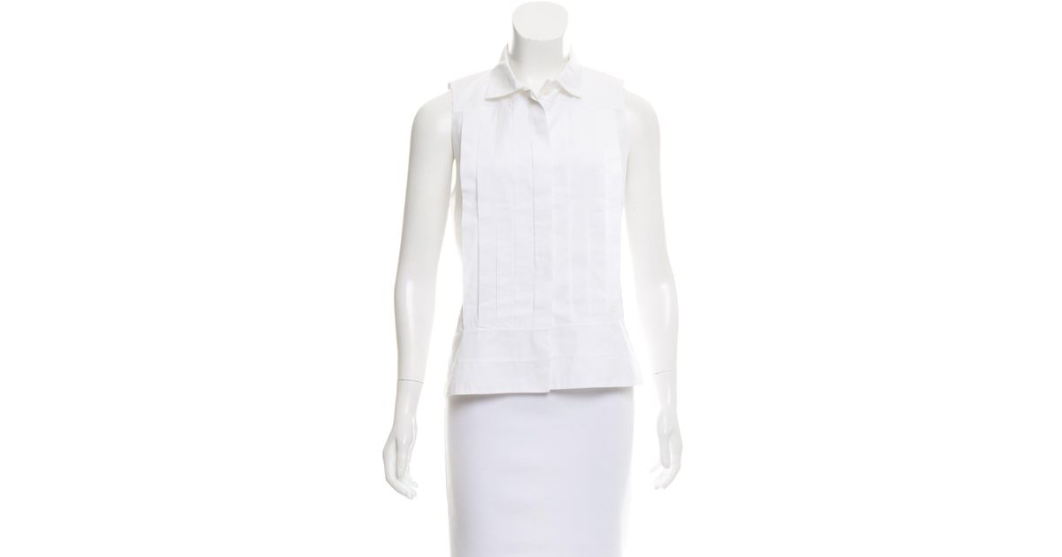 9a84cb3c074 Lyst - Chanel Pleated Button-up Top in White