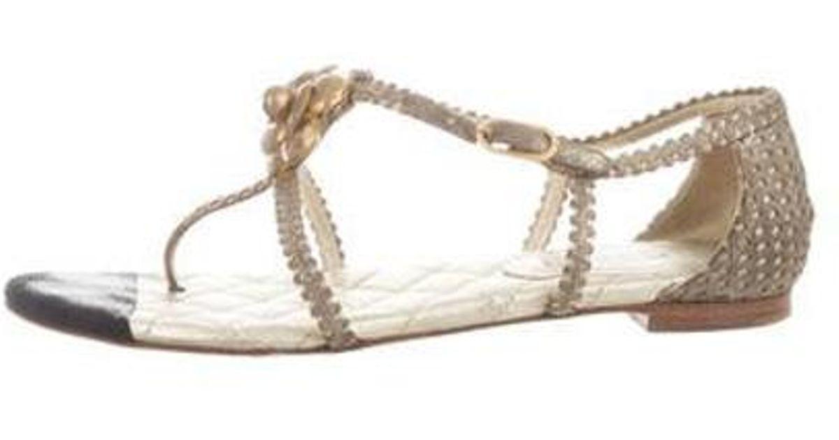 2068b51dc65a63 Lyst - Chanel Camellia Sandals in Metallic