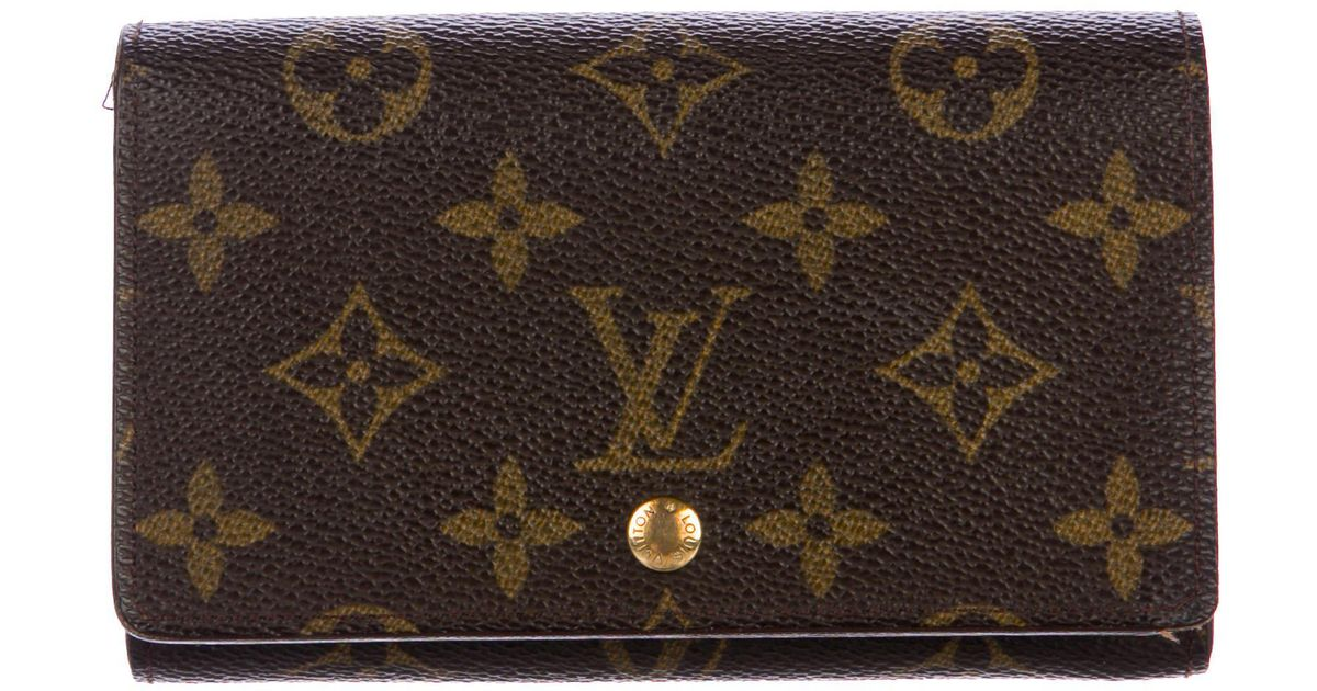 0783f6b308ba Lyst - Louis Vuitton Monogram Trésor Wallet Brown in Natural