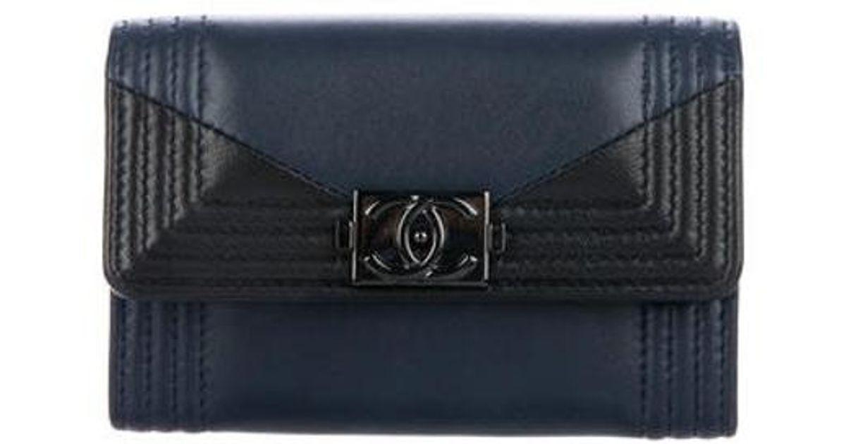 Lyst Chanel 2017 Boy Business Card Holder Navy In Blue