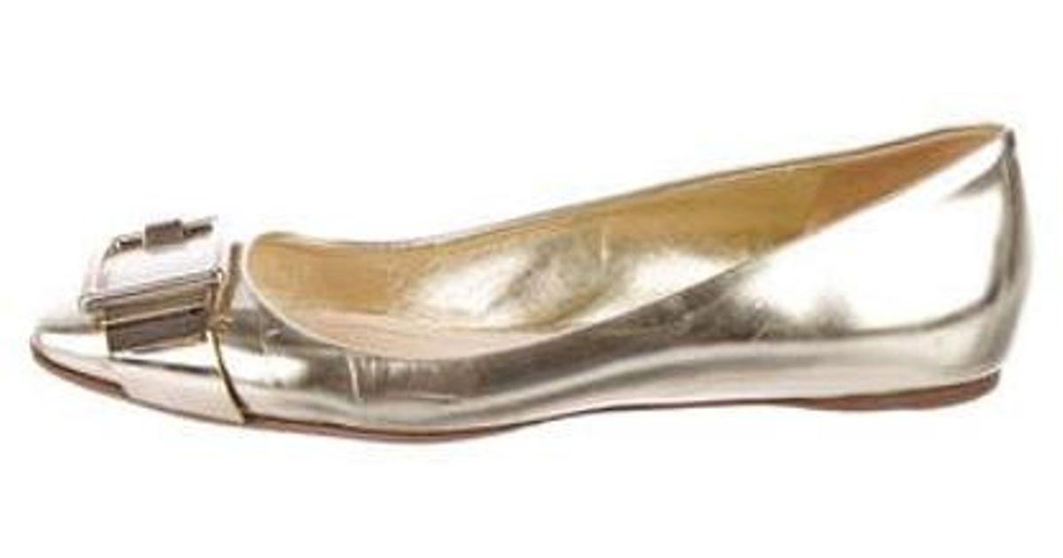 0ec985b9a23 Lyst - Dior Leather Square-toe Flats in Metallic