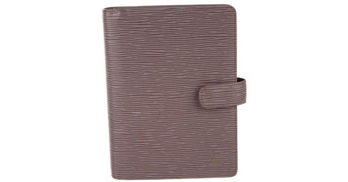 0831e79f2df3 Lyst - Louis Vuitton Epi Medium Ring Agenda Cover Silver in Metallic