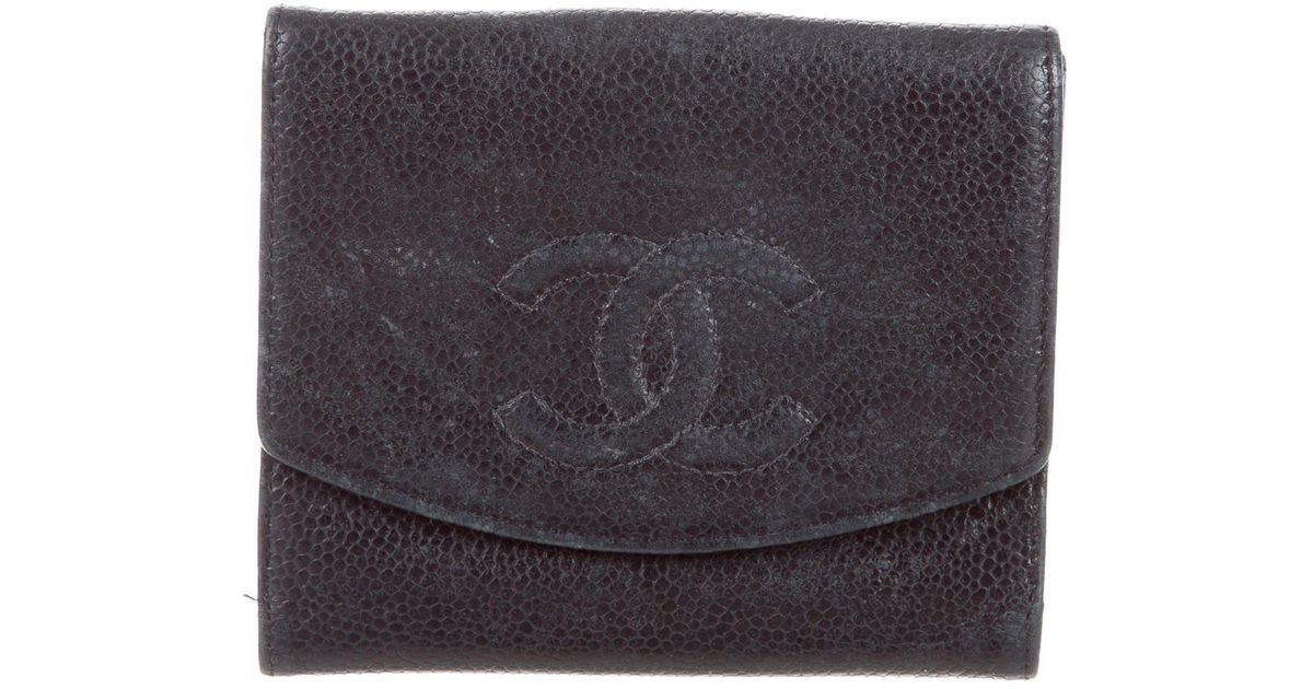 8d1d15c49c31 Lyst - Chanel Caviar Timeless Compact French Purse Wallet in Black