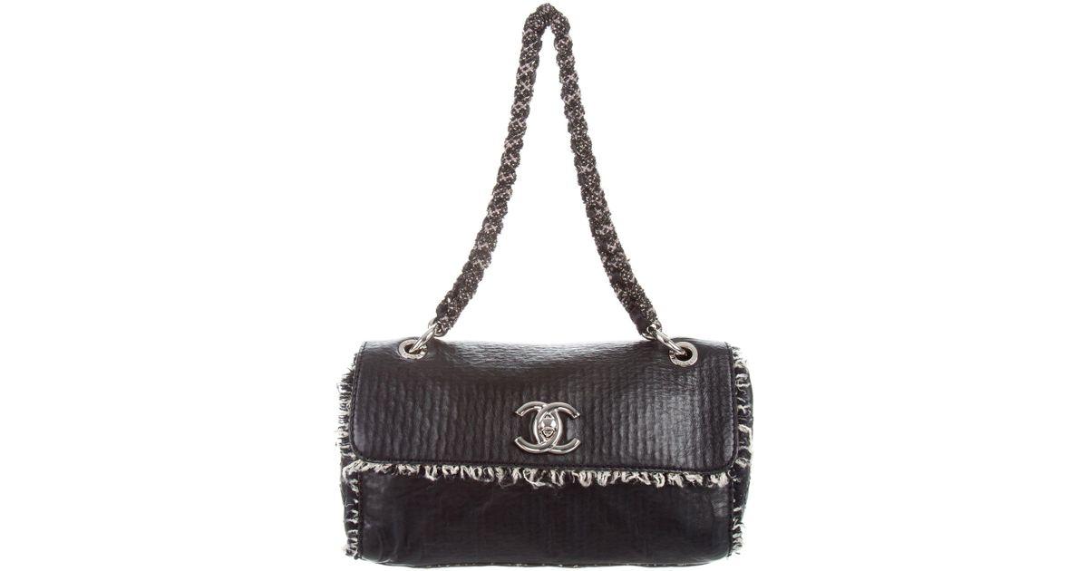 5f502546b98a Lyst - Chanel Medium Tweedy Flap Bag Black in Metallic