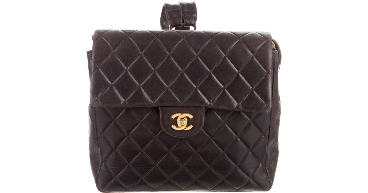 2d4d296fc489 Lyst - Chanel Quilted Cc Chain Backpack Brown in Metallic