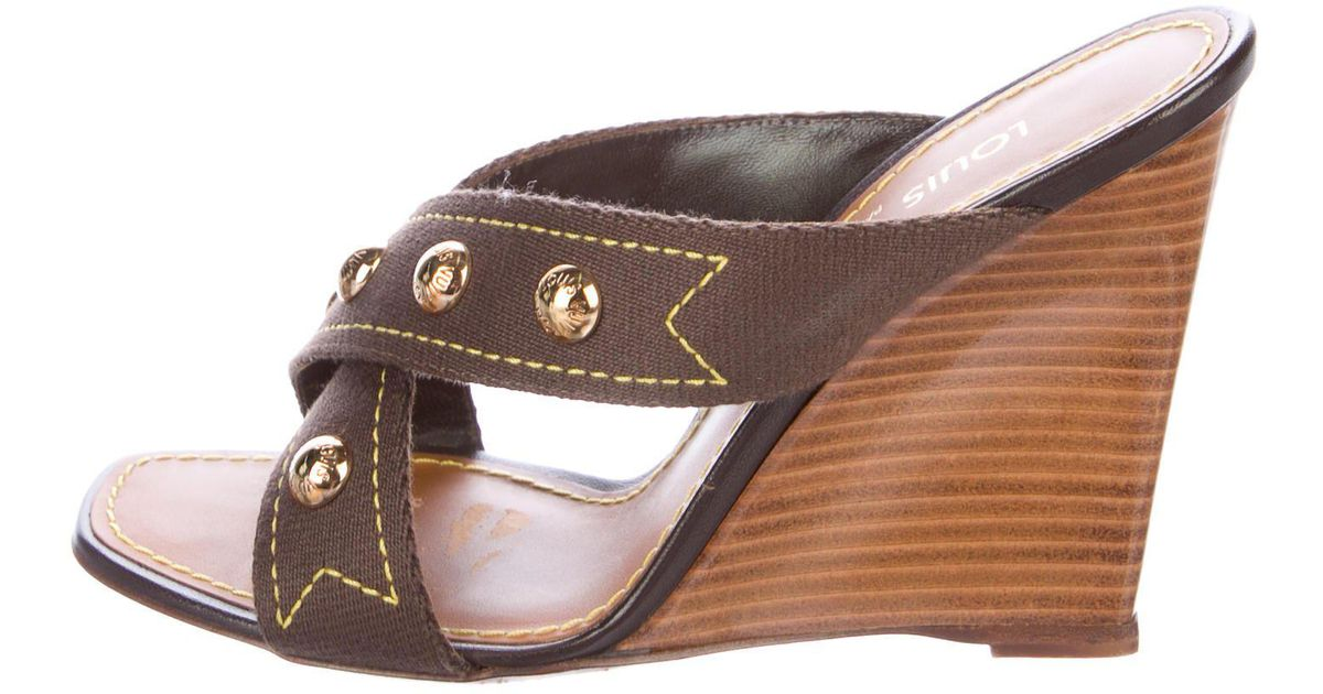 82a889469544 Lyst - Louis Vuitton Studded Wedge Slide Sandals Yellow in Metallic