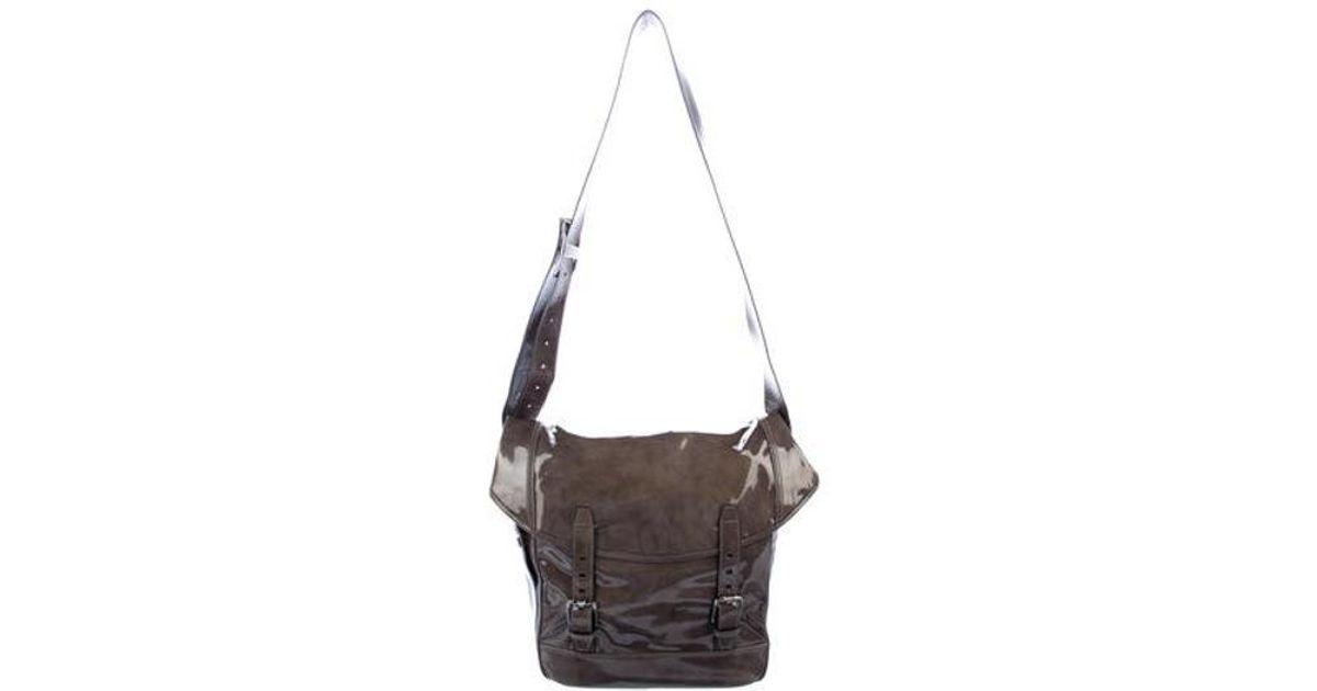 Lyst - Ferragamo Patent Leather Messenger Bag in Black for Men b98f99bc1e4ae