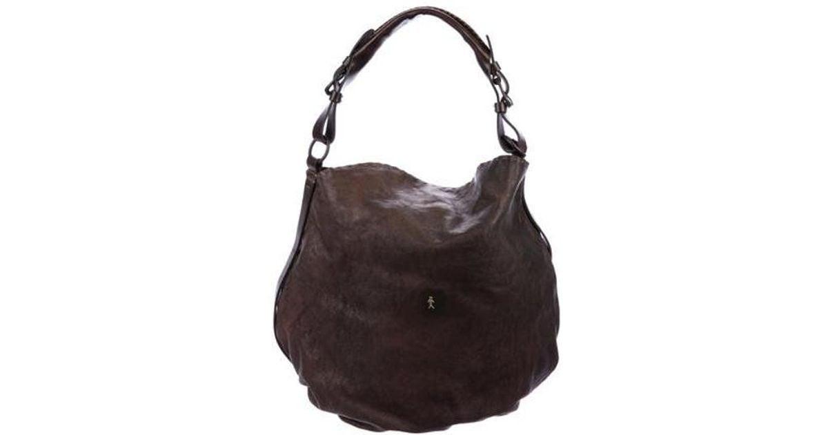 Lyst - Henry Beguelin Distressed Leather Satchel in Brown eba9de00663ce
