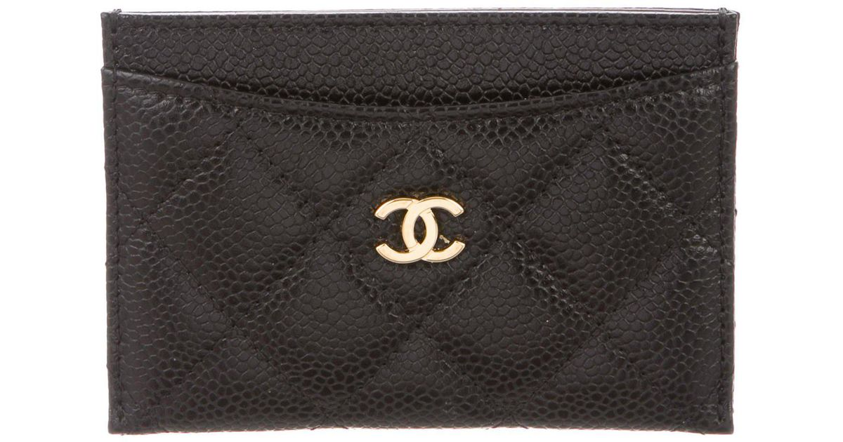 eacc168d3cfd Lyst - Chanel Caviar Card Case Black in Metallic