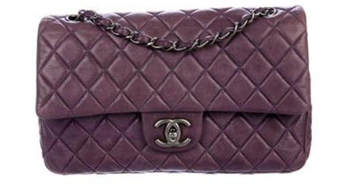 95d8f342471c Lyst - Chanel Soft Classic Medium Double Flap Bag Purple in Metallic