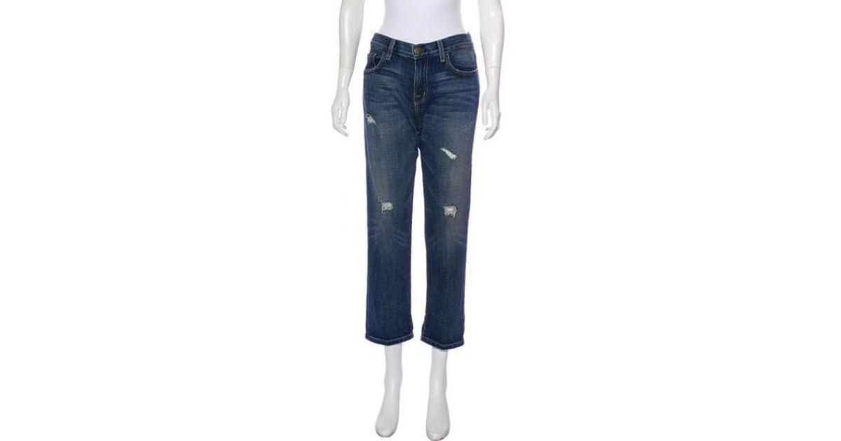 bf2928bc05d740 Lyst - Current/Elliott Destroy Mid-rise Boyfriend Jeans in Blue