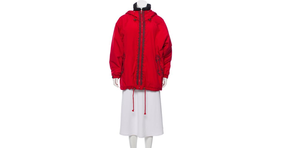 e62f9acb1 Lyst - Bogner Embroidered Hooded Coat Red in Gray