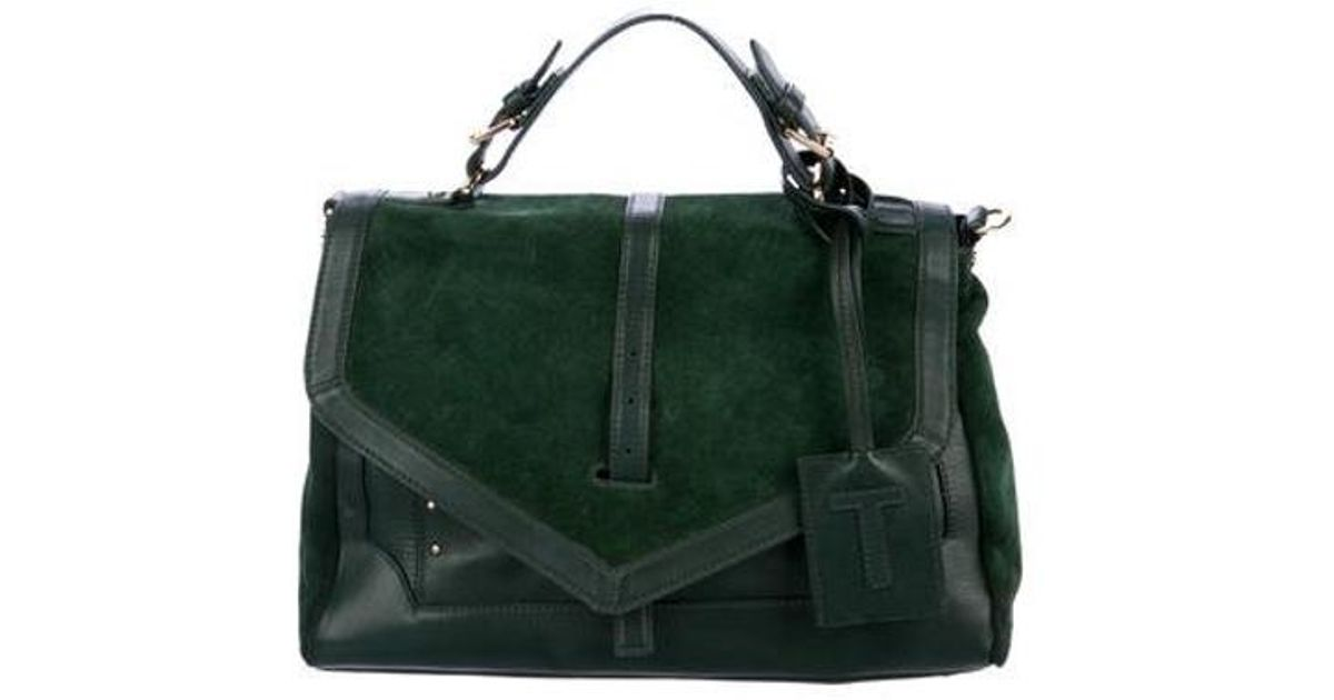 ffbe55164529 Lyst - Tory Burch 797 Leather   Suede Satchel Green in Metallic