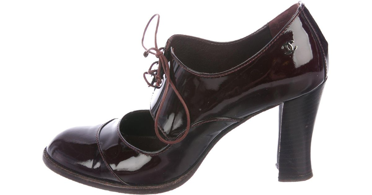 35d2b48c7f Lyst - Chanel Patent Leather Mary Jane Pumps Burgundy in Red
