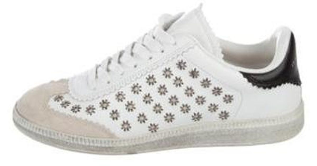 in Lyst Isabel Eyelets White Studded Metallic Marant Sneakers LRS3Ajqc54