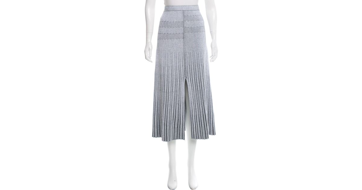 4f0b955aed Lyst - Proenza Schouler Ribbed Midi Skirt in White