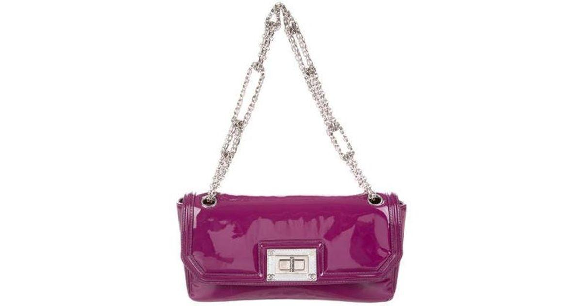 782f7db41fcfdc Lyst - Chanel East West Large Flap Bag Purple in Metallic