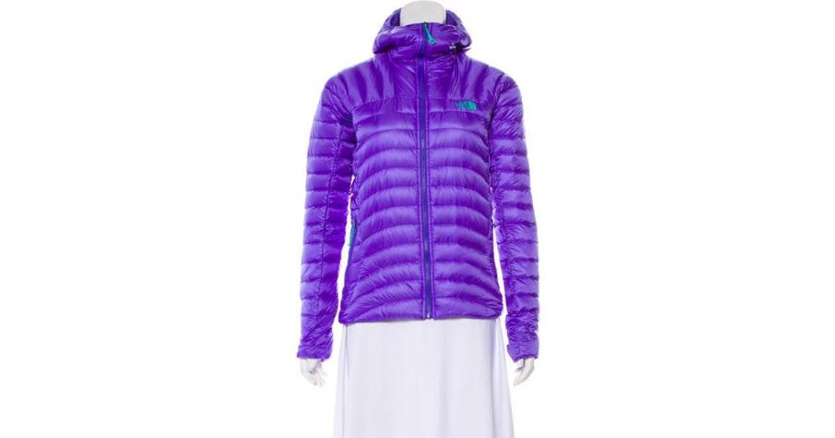 ... shop lyst the north face long sleeve puffer jacket in purple 380cc f57ec 2667856f9
