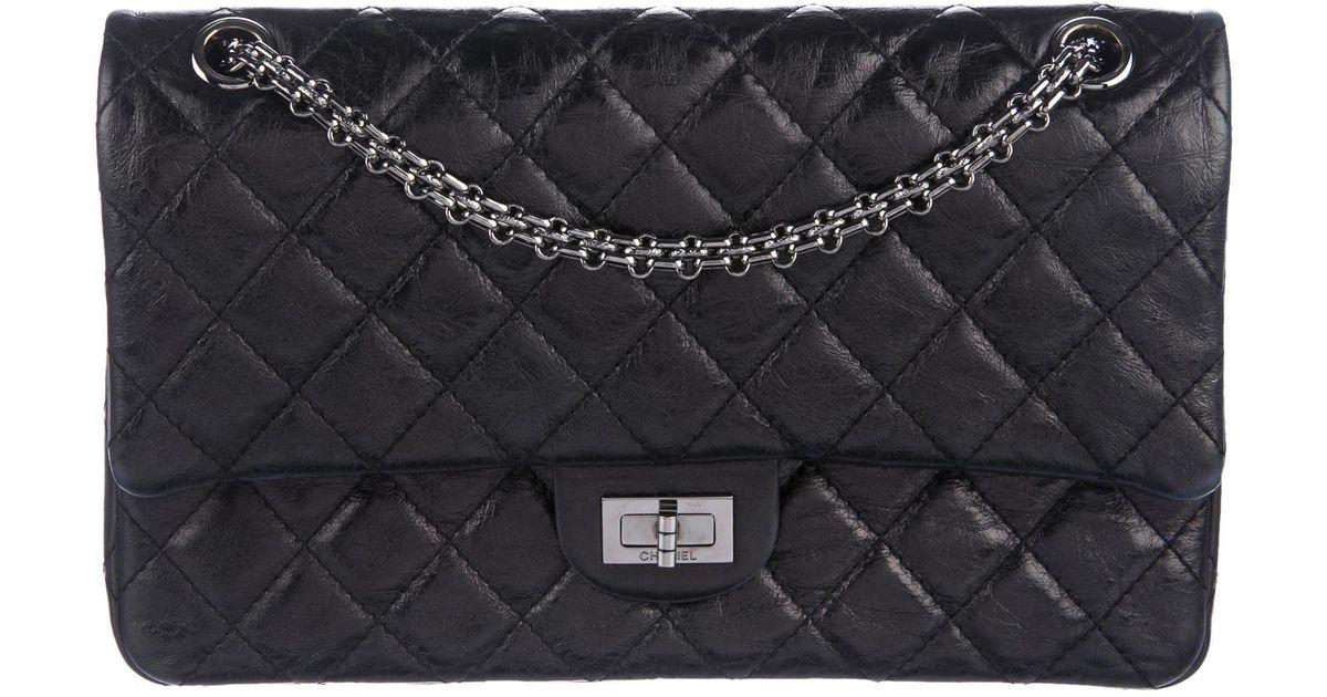 3897b709a58f66 Lyst - Chanel Reissue 226 Double Flap Bag Black in Metallic