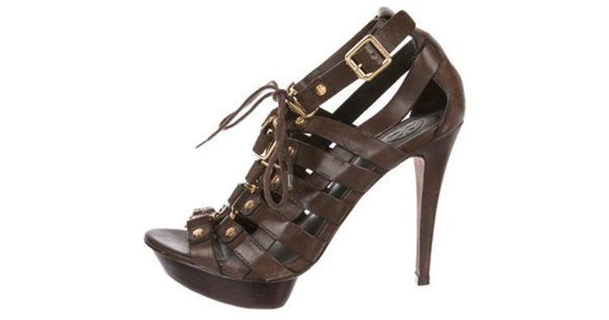 bfc2cdb5627 Lyst - Tory Burch Leather Ankle Strap Sandals Gold in Metallic