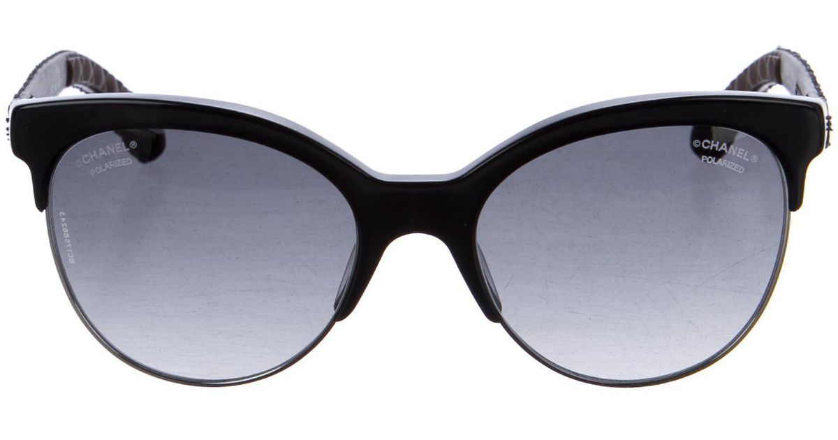 Lyst Chanel Pantos Quilted Sunglasses Black In Metallic