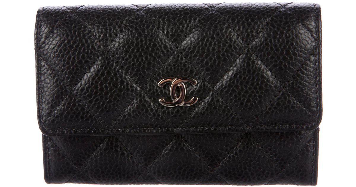 Lyst Chanel Caviar Business Card Holder Black In Metallic