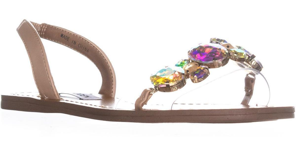e6956e2a68a Lyst - Steve Madden Alice Gemstone Slip On Sandals in Natural