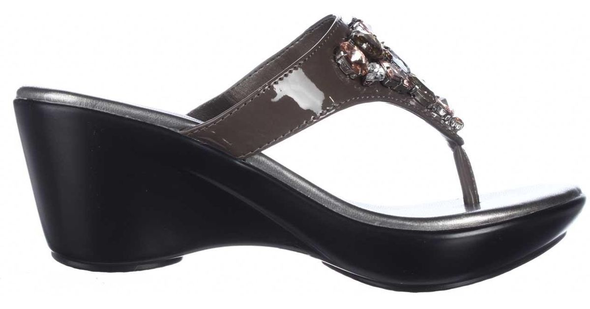 callisto shimmer jeweled wedge sandals in black lyst