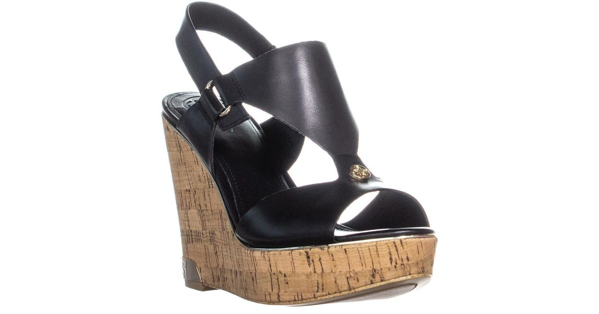 Guess Lyst Peep Hulda Wedge Sandals Toe Black yb7mIv6gYf