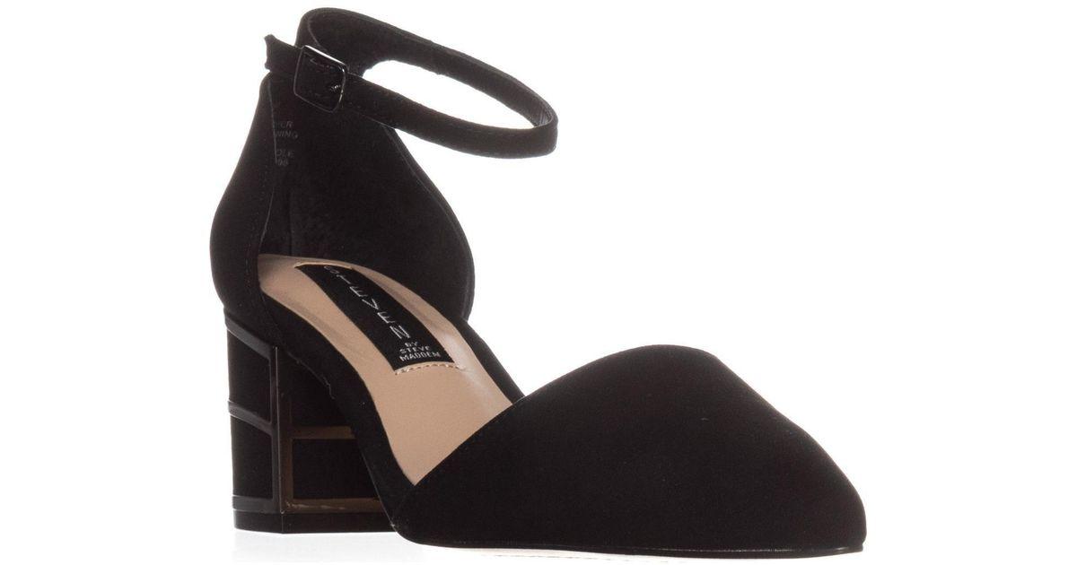 d81a453aa22 Steve Madden - Steven Bea Low-heel Ankle Strap Pumps, Black Suede - Lyst