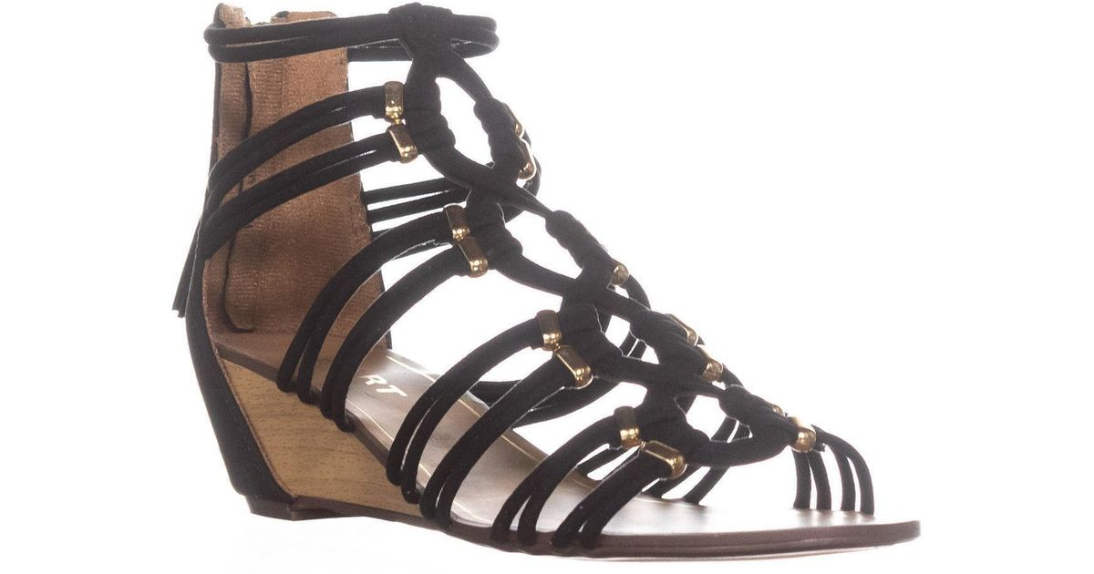 f97c7ada985eb6 Lyst - Report Maple Wedge Zip Up Sandals in Black