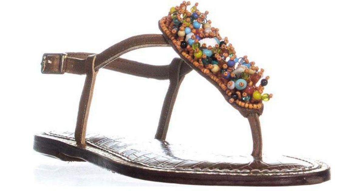 ca0f411cdc79 Lyst - Sam Edelman Gabrielle Seashell Flat Sandals in Orange