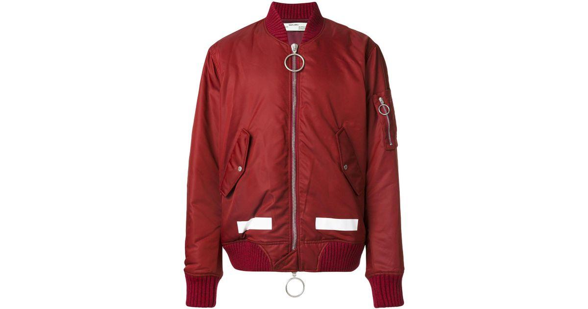 982ed21e63dd Lyst - Off-White c o Virgil Abloh Arrows Bomber Jacket in Red for Men