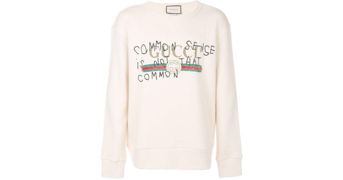811523bde Gucci 'common Sense Is Not That Common' Sweatshirt for Men - Lyst