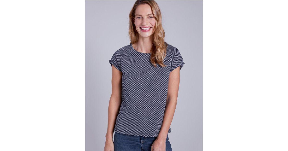 aeb81a02 Lyst - The White Company Cotton Diagonal Stripe T-shirt in Blue
