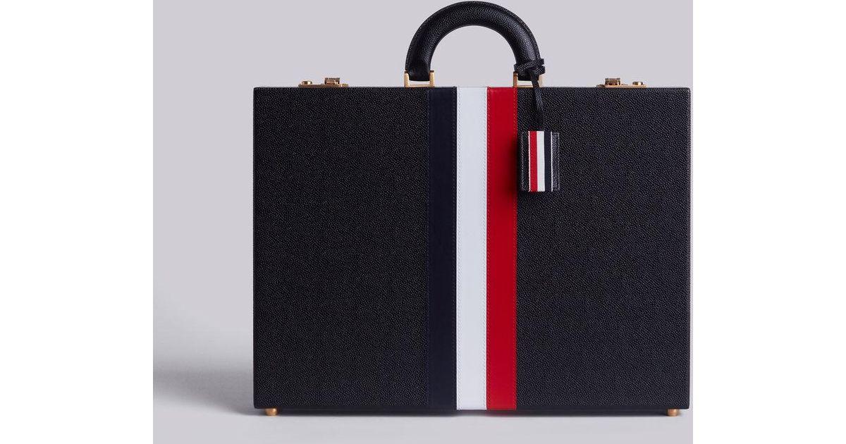 Attache Case With Red, White And Blue Calf Stripe In Pebble Grain - Black Thom Browne