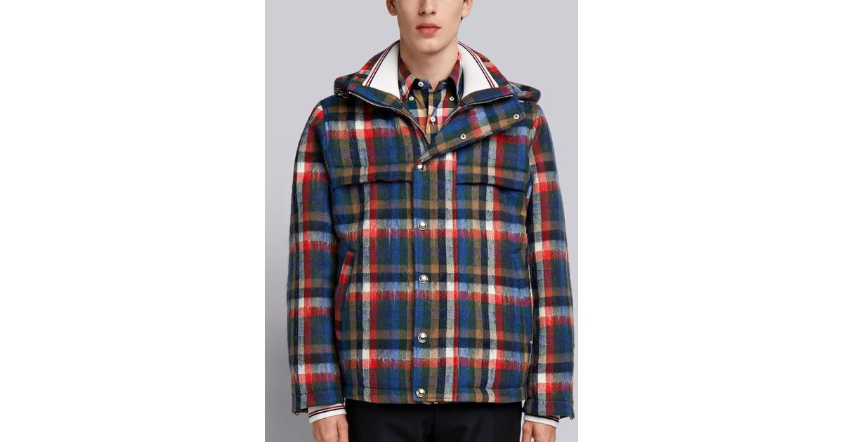c816e85a4b0 Lyst - Thom Browne Gingham Tartan Down-filled Hairy Mohair Tech Jacket in  Blue for Men