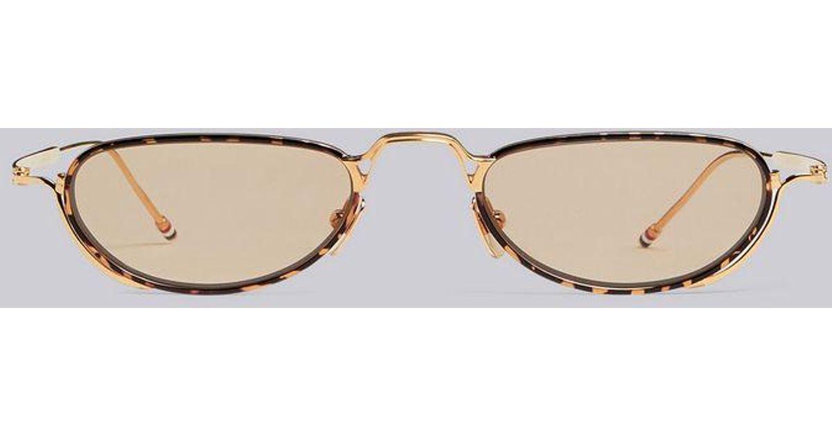 938664d647 Lyst - Thom Browne White Gold   Tortoise Sunglasses in Metallic for Men