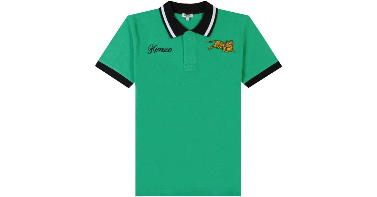 b0cd3624 KENZO Jumping Tiger Polo in Green for Men - Lyst