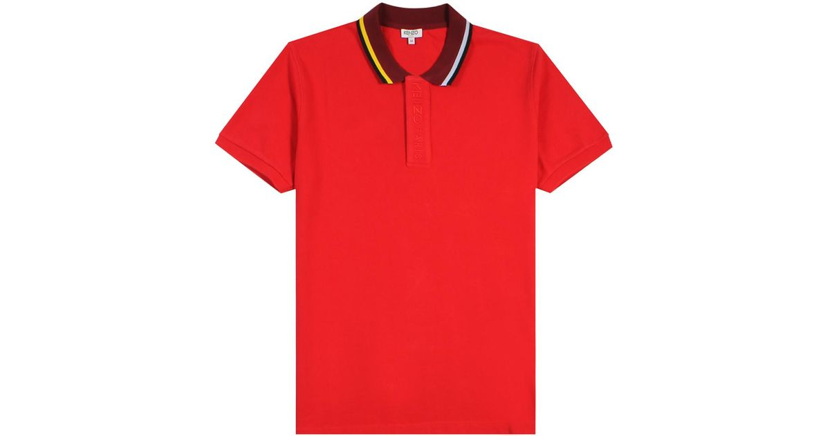 55c74514355 Lyst - KENZO Bi-coloured Polo Shirt Red in Red for Men